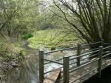 Small wooden bridge near Tackley in Oxfordshire.